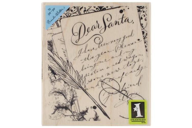 Inkadinkado Christmas Mounted Rubber Stamp 8.9cm x 10cm -Dear Santa Letter