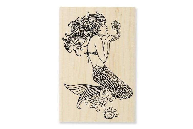 Stampendous Wood Handle Rubber Stamp, Mermaid Image