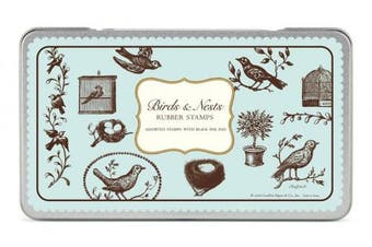 Cavallini Rubber Stamps Birds & Nests, Assorted with Ink Pad