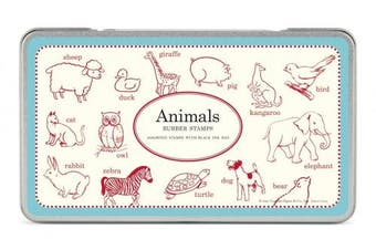 Cavallini Rubber Stamps Animals, Assorted with Ink Pad