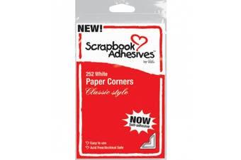 Adhesive Paper Photo Corners: Classic Style White