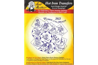 Flowers of the Month Aunt Martha's Hot Iron on Embroidery Transfer