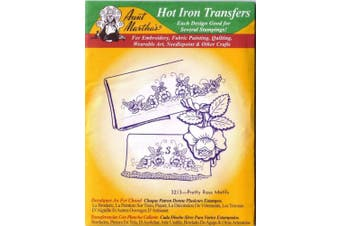 Pretty Rose Motifs Aunt Martha's Hot Iron Embroidery Transfer