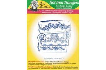 Blue Onion Motifs Aunt Martha's Hot Iron Embroidery Transfer