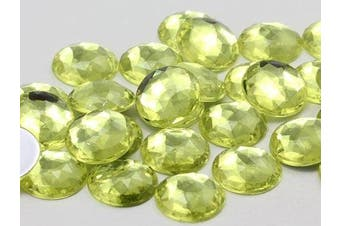 18mm Jonquil A12 Flat Back Round Acrylic Jewels High Quality Pro Grade - 30 Pieces