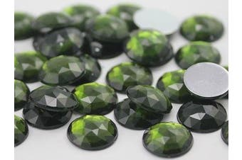 18mm Olive A30 Flat Back Round Acrylic Jewels High Quality Pro Grade - 30 Pieces