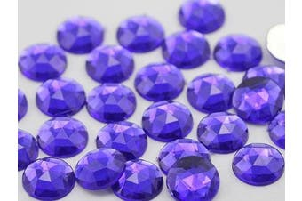 18mm Violet .VT Flat Back Round Acrylic Jewels High Quality Pro Grade - 30 Pieces