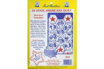 (50 State Americana Quilt) - Aunt Martha's 50 State Americana Iron On Transfer Pattern Collection, with State Outlines, State Birds and State Flowers