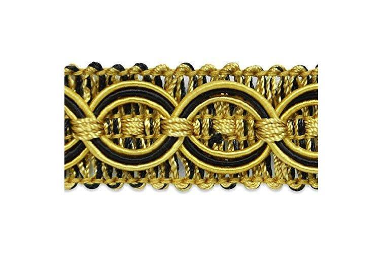 (Black/ Gold) - 20 yards of Collette Woven Braid Circle Trim Black/ Gold