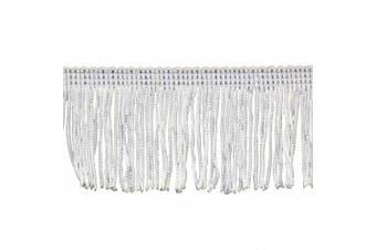 Chainette Fringe 10-Yard Polyester Fringe Rolls for Arts and Crafts, 5.1cm Long, White