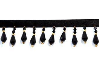 Belagio Acyrlic Beaded Trim, 15-Yard, Black and Gold