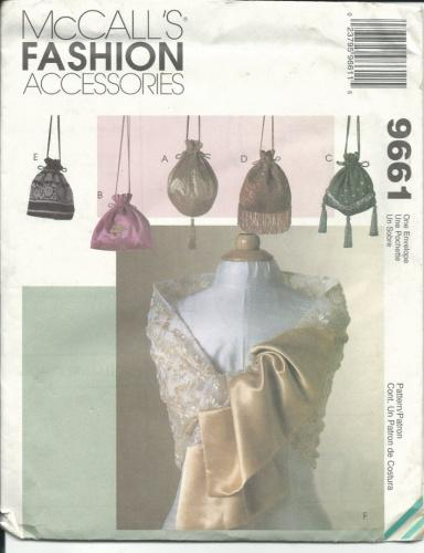 McCall's 9661 Sewing Pattern Fashion Accessories Bags and Scarves