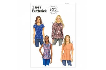 (8-10-12-14-16) - Butterick Patterns B5988 Misses'/Misses' Petite Top Sewing Template, Size B5
