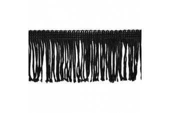 Chainette Fringe 10-Yard Polyester Fringe Rolls for Arts and Crafts, 5.1cm Long, Black