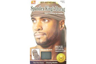 (Gray) - Luxury King's Durag - Grey, Polyester, spandex