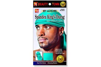 (Sky Blue) - Luxury King's Durag - Sky Blue, Polyester,, spandex