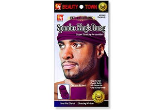 (Burgundy) - Luxury King's Durag - Burgundy, Polyester, spandex
