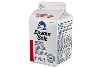 (1 Lb & Swan) - Swan White Mountain Epsom Salt Magnesium Sulphate Soaking Solution