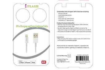 iFlash® Extra Long 1.8m Apple Certified MFi 8-Pin Lightning to USB cable (1.8m) Made for iPhone 5 5s 5c, iPad (4th generation), iPad Air, iPad mini, iPad mini with Retina Display, iPod touch (5th generation), iPod nano (7th generation) (White)