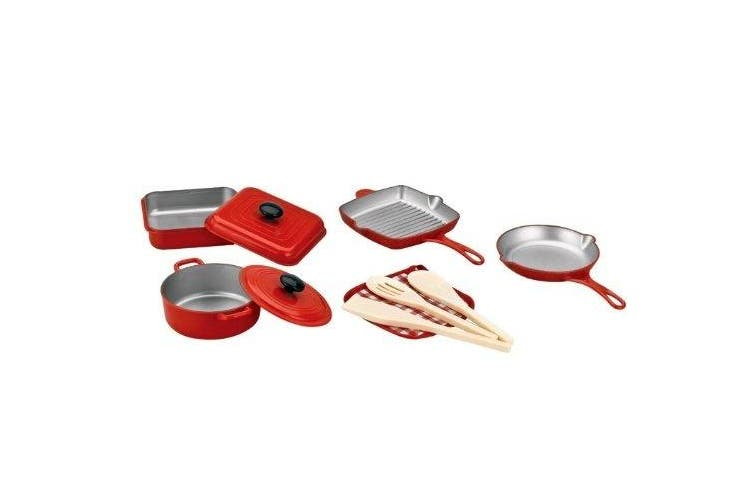 10 Piece Pots and Pans Kitchen Cookware Playset for Kids with Cooking Utensils Set