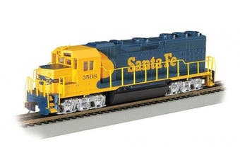 Bachmann Industries EMD GP40 DCC Equipped Locomotive Santa Fe #3508 HO Scale Train Car, Blue/Yellow