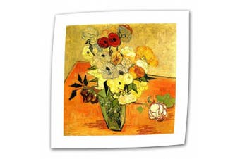 """(Flat/Rolled Canvas"""",""""14"""" x 18"""") - 'Japanese Vase with Roses and Anemones' By Vincent Van Gogh Canvas Art"""