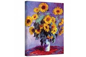 """(Gallery Wrapped"""",""""14"""" x 18"""") - 'Sunflowers' By Claude Monet Canvas Art Reproduction"""