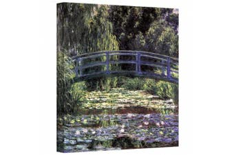 """(Gallery Wrapped"""",""""14"""" x 18"""") - 'Bridge At Searose Pond ' By Claude Monet Canvas Art"""