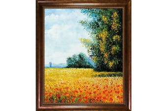 Overstockart Mon2091-Fr-930120X24 Monet Champ D'Avoine Oat Field with Verona Cafe Coffee Brown Patina Finish with Bead Detail