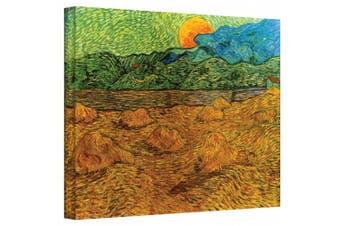 """(Gallery Wrapped"""",""""14"""" x 18"""") - 'Evening Landscape with Rising Moon' By Vincent Van Gogh Canvas Art Reproduction"""