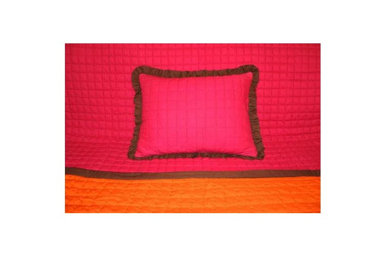 Valley of Flowers Fuschia/Orange reversible quilted zippered Std Sham