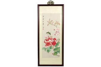 Oriental Furniture Unique Housewarming Gift Idea Her, 50cm Butterflies and Flowers Chinese Ink and Watercolour Framed Painting