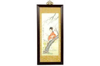 Oriental Furniture Unique Teacher Nurse Friend Gift Idea, 50cm Blossoms and Beauty Asian Art Watercolour Framed Painting