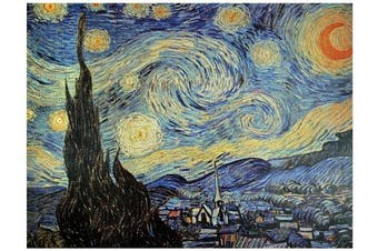 Oriental Furniture Inexpensive Classic Van Gogh Reproductions, 80cm Starry Night, Art Print on Stretched Canvas, 80cm by 60cm