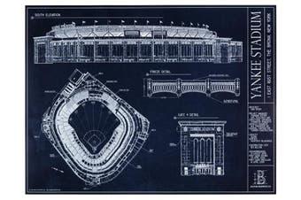 Yankee Stadium Blueprint Style Print