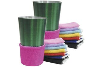 Terry Assorted Colours Beverage Drink Covers - Non Slip (Set of 16)