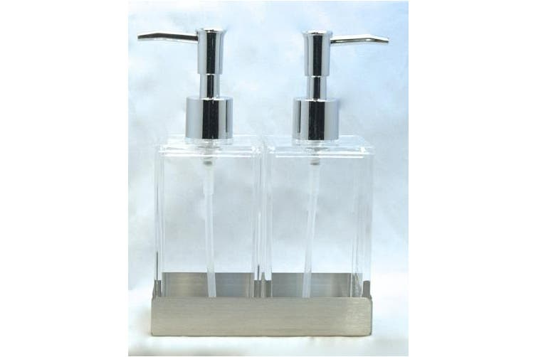 Acrylic Twin Liquid Soap and Lotion Dispenser in Stainless Steel Tray