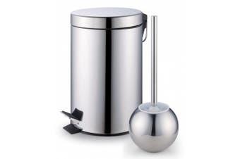 Cook N Home Step Trash Bin Toilet Brush Set, Stainless Steel