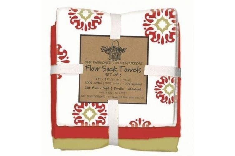Kay Dee Designs Café Express Collection Medallion Flour Sack Cotton Towels, 70cm by 70cm , Cinnabar, Set of 3