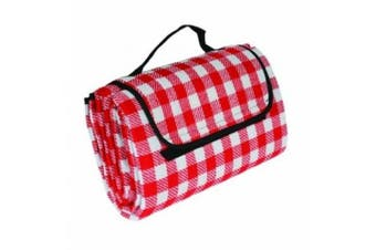 (Red/White) - Camco Picnic Blanket, Red and White Chequered, 130cm x 150cm
