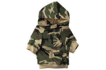 (Small, Green) - Casual Canine Cotton Camo Dog Hoodie