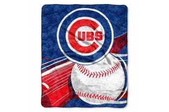 "MLB Chicago Cubs 130cm -by-150cm Sherpa on Sherpa Throw Blanket ""Big Stick"" Design"