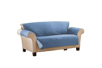 (Sofa, Dark Blue/Light) - Reversible Quilted Furniture Protector Cover, Dark Blue/Light, Sofa
