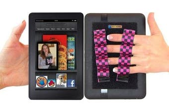 (black & pink checkers -- fits most) - LAZY-HANDS 4-Loop Grips (x2 Grips) for e-Readers - FITS MOST (Black & Pink Checkers)