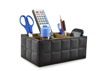 Earlygreen Pu Leather Remote Control/controller Tv Guide/mail/cd Organiser/caddy/holder Home Organiser Desk Organiser Black Colour