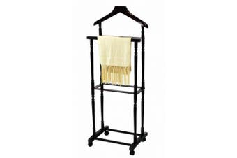 (WITH CASTER) - Frenchi Home Furnishing Men Suit Valet Stand with Suit Hanger, Espresso