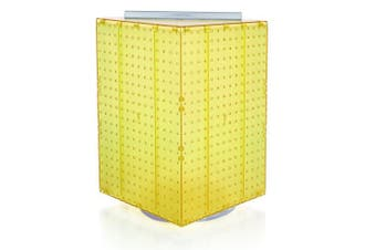 Azar 701414-YEL Pegboard 4-Sided Revolving Counter Display, Yellow Translucent Colour