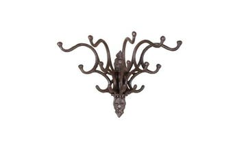Cast Iron Wall Hook with 5 Prongs, Rust Finish