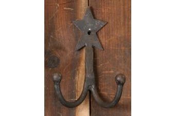 Wrought Iron Double Coat Hook with Primitive Rustic Star - Great for Primitive Country Decor