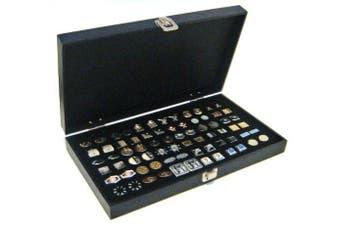 Solid Top Black Cufflinks Jewellery Showcase Storage Organiser Display Case Box